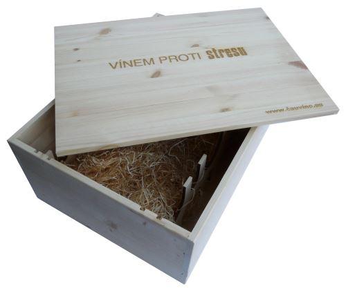 Bedna na 12 vín gravírování Vínem proti stresu