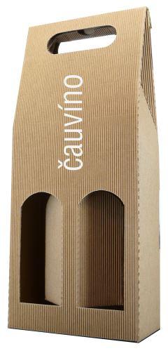 Krabička přírodní na 2 lahvičky D. 2.2.2. přírodní výška 41 cm