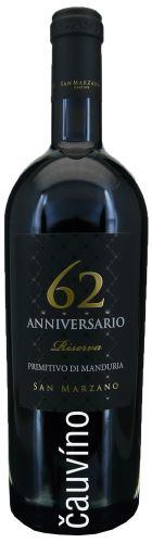 Primitivo di Manduria 62 Vintage 2014 Anniversario 0,75l Itálie suché