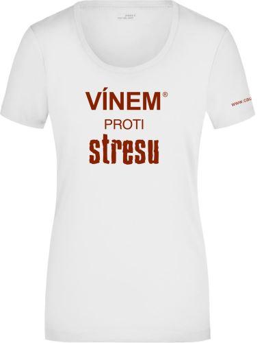 Tričko dámské VÍNEM PROTI STRESU kulatý výstřih velikost XL