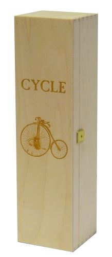 Krabička dřevěná na 1 láhev vína přírodní CYKLE