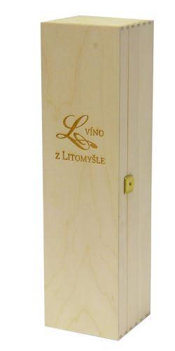 Krabička dřevěná na 1 láhev vína přírodní Víno z Litomyšle