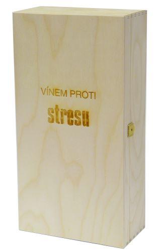 Krabička dřevěná na 2 láhve vína přírodní Vínem proti stresu