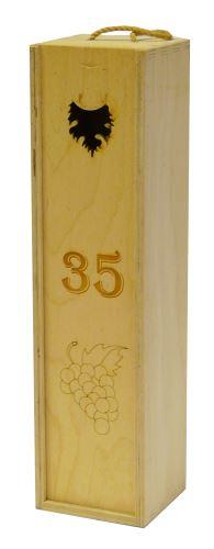 Krabička dřevěná na 1 láhev vína přírodní gravírování roky 35