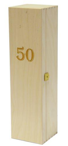 Krabička dřevěná na 1 láhev vína přírodní gravírování roky 50