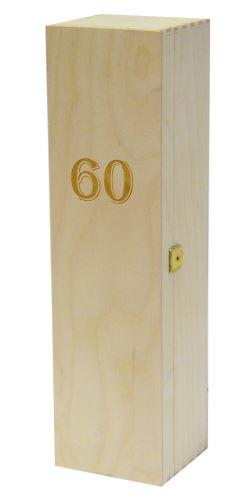 Krabička dřevěná na 1 láhev vína přírodní gravírování roky 60