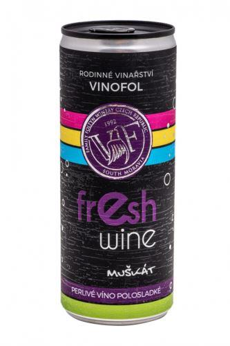 Muškát moravský  v plechovce Fresh wine Vinofol 2020 MZV 0,25l polosladké  2028