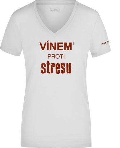 Tričko dámské VÍNEM PROTI STRESU véčko výstřih velikost L