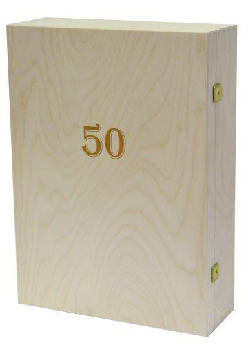 Krabička dřevěná na 3 láhve vína přírodní gravírování roky 50