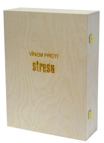 Krabička dřevěná na 3 láhve vína přírodní Vínem proti stresu
