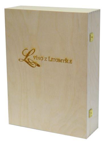Krabička dřevěná na 3 láhve vína přírodní Víno z Litomyšle