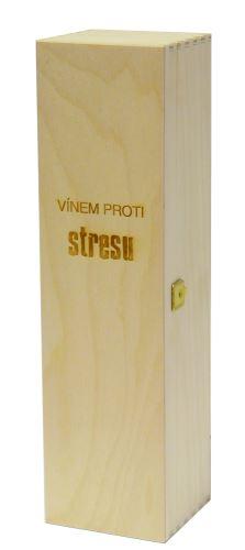 Krabička dřevěná na 1 láhev vína přírodní Vínem proti stresu