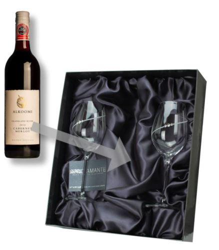 Krabička na víno + 2 skleničky 360ml Swarovski